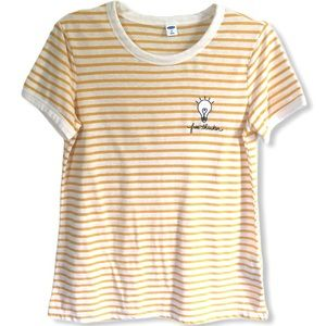 "Old Navy Yellow Striped ""Free Thinker"" Tee Size M"